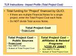 tlr instructions impact profile total project cost