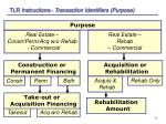 tlr instructions transaction identifiers purpose