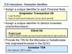 tlr instructions transaction identifiers