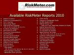 available riskmeter reports 2010