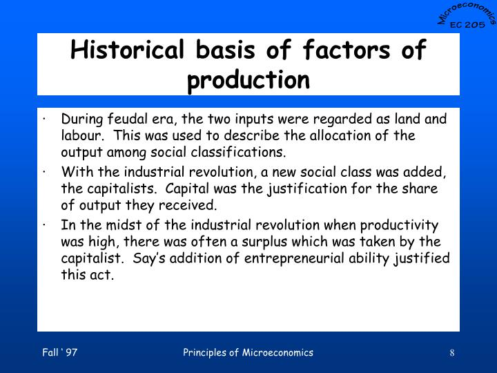 Historical basis of factors of production