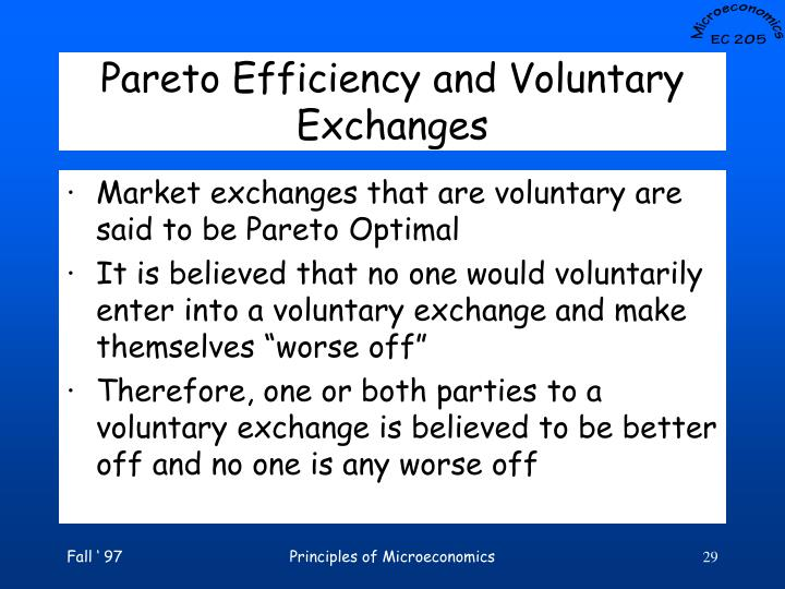 Pareto Efficiency and Voluntary Exchanges