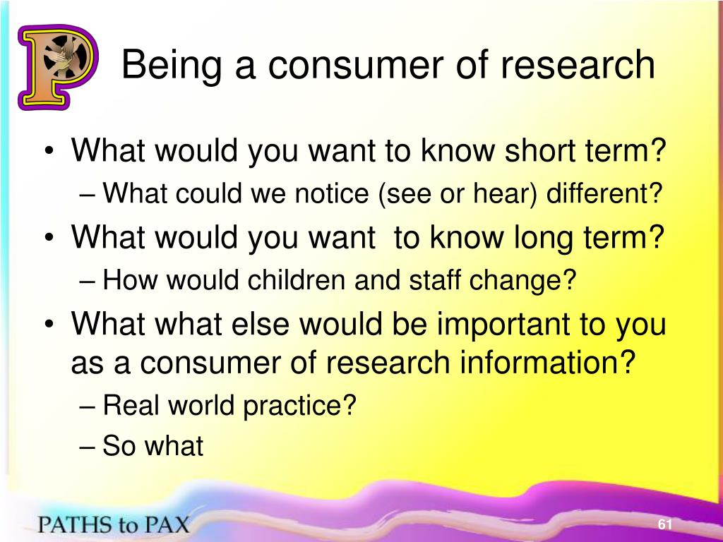 Being a consumer of research