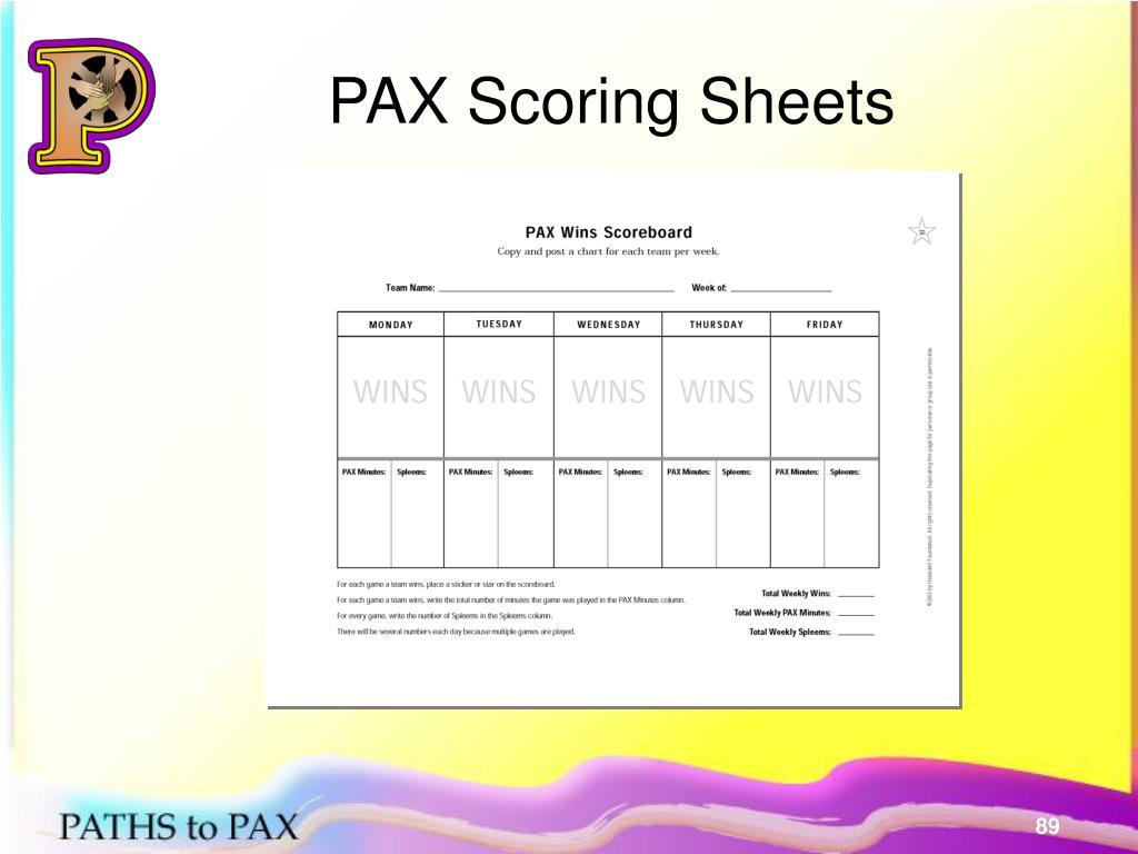 PAX Scoring Sheets