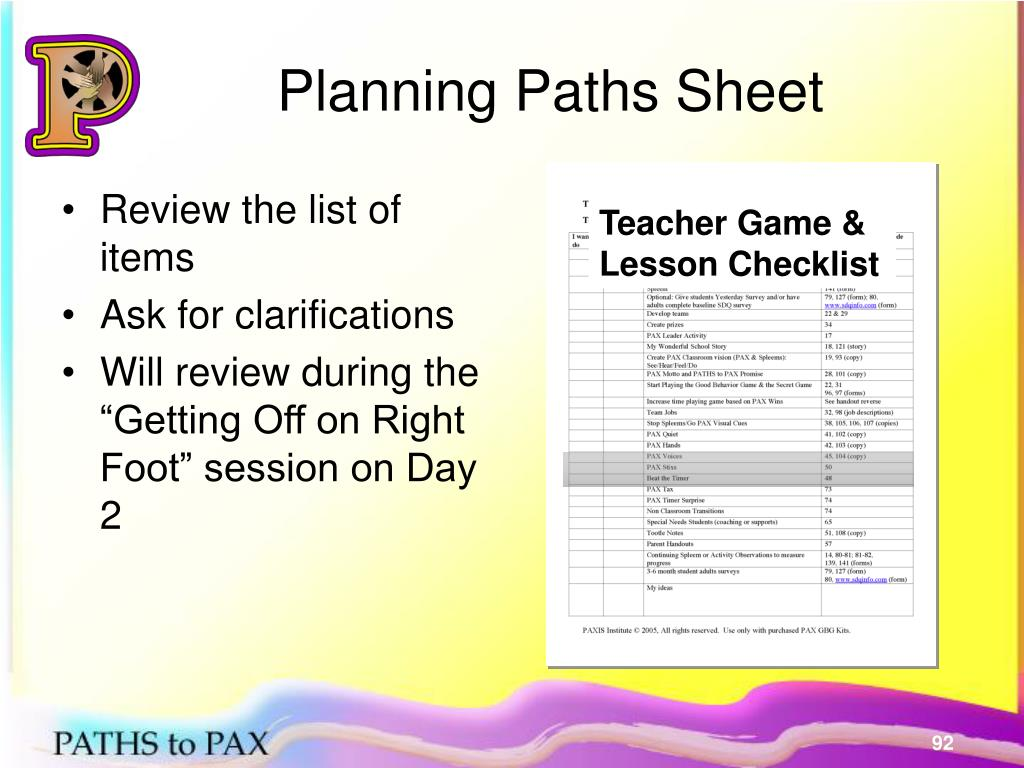 Planning Paths Sheet