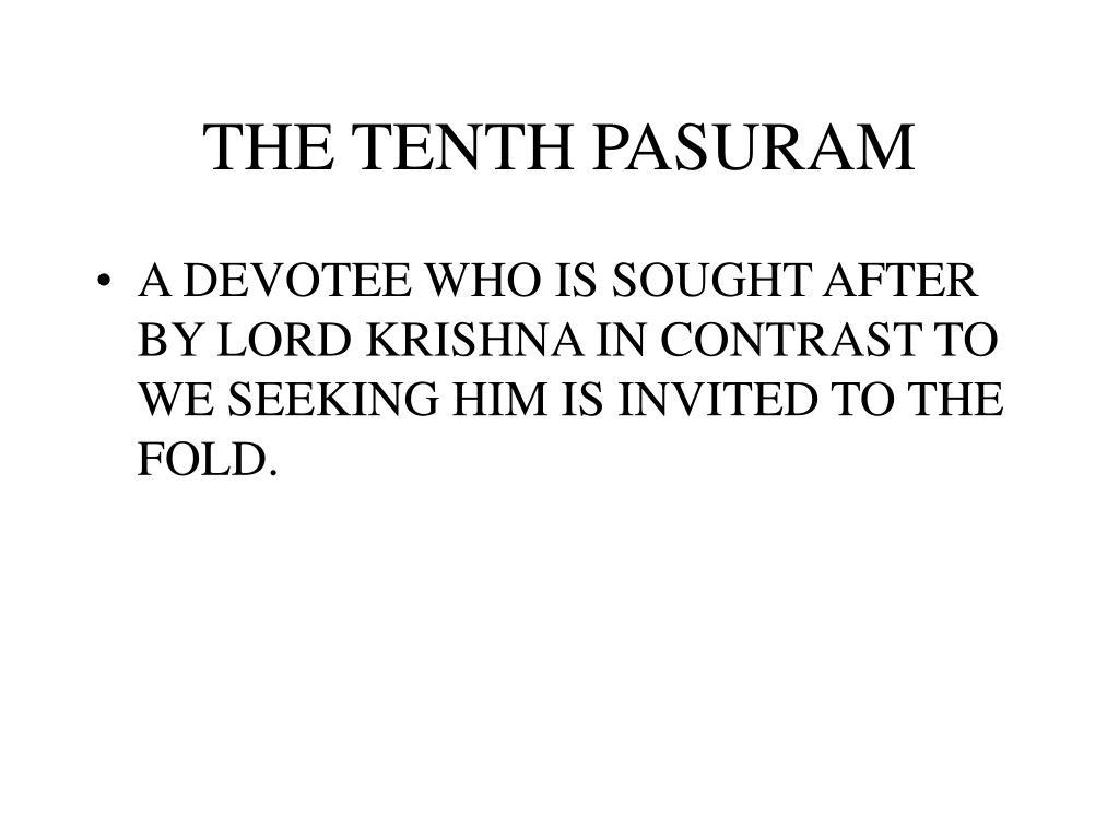 THE TENTH PASURAM
