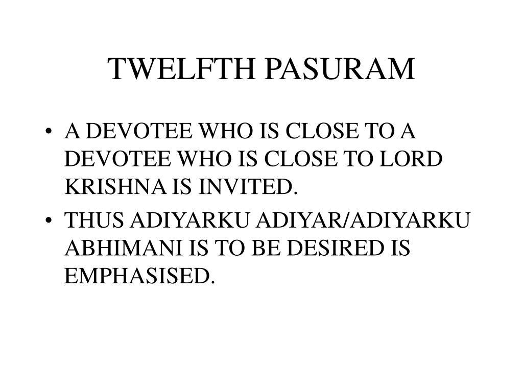 TWELFTH PASURAM