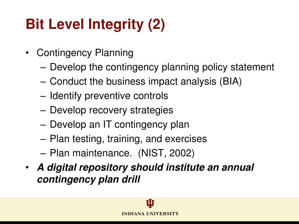Bit Level Integrity (2)