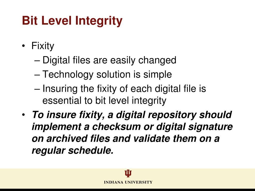 Bit Level Integrity
