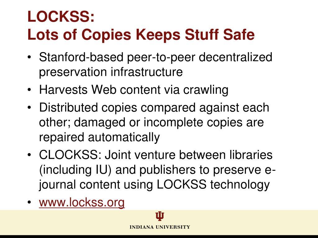 Stanford-based peer-to-peer decentralized preservation infrastructure