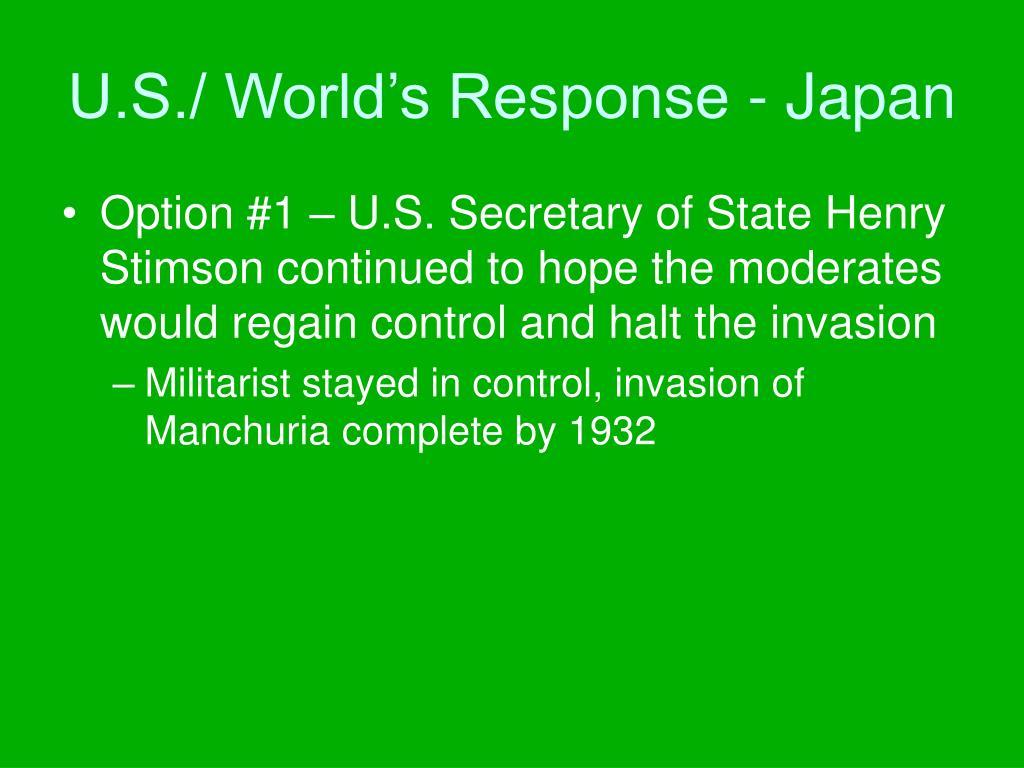 U.S./ World's Response - Japan