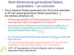 multi dimensional generalized stokes parameters an overview