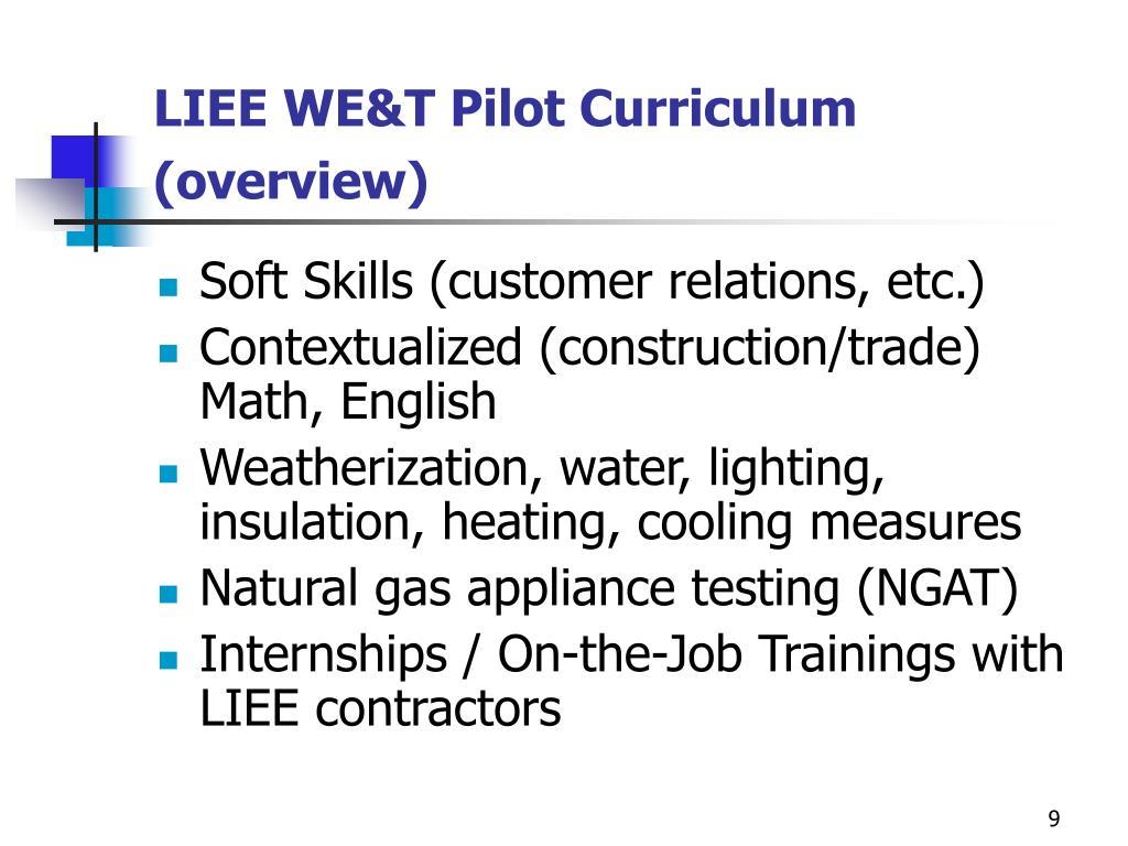 LIEE WE&T Pilot Curriculum (overview)