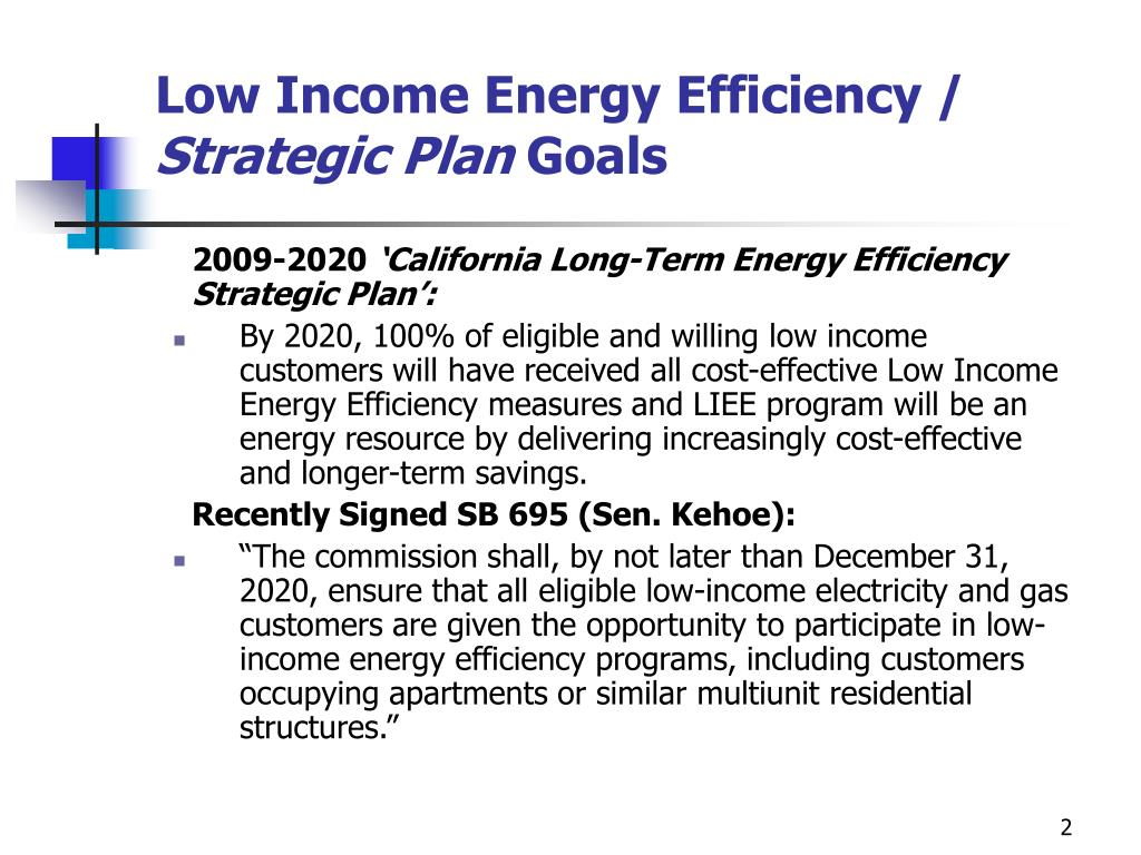 Low Income Energy Efficiency /