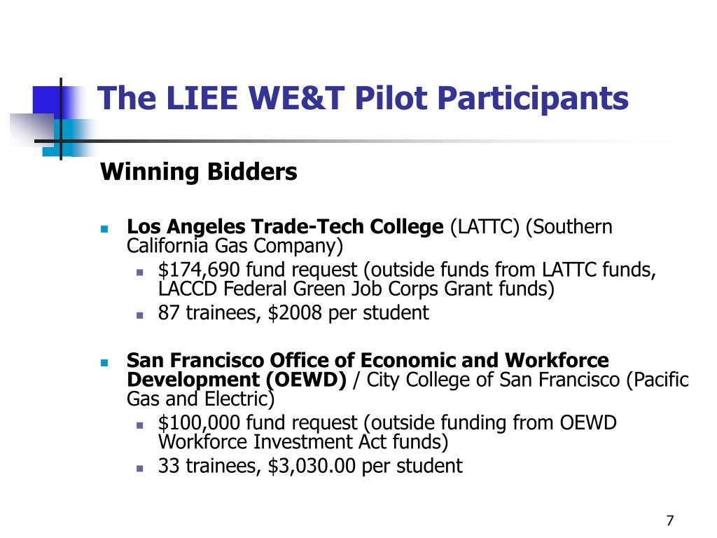 The LIEE WE&T Pilot Participants