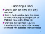 unpinning a block