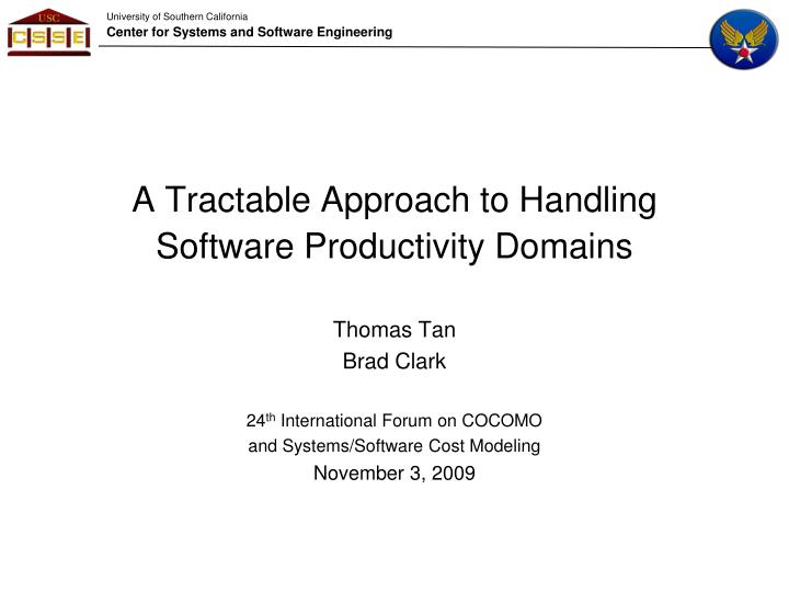 A tractable approach to handling software productivity domains