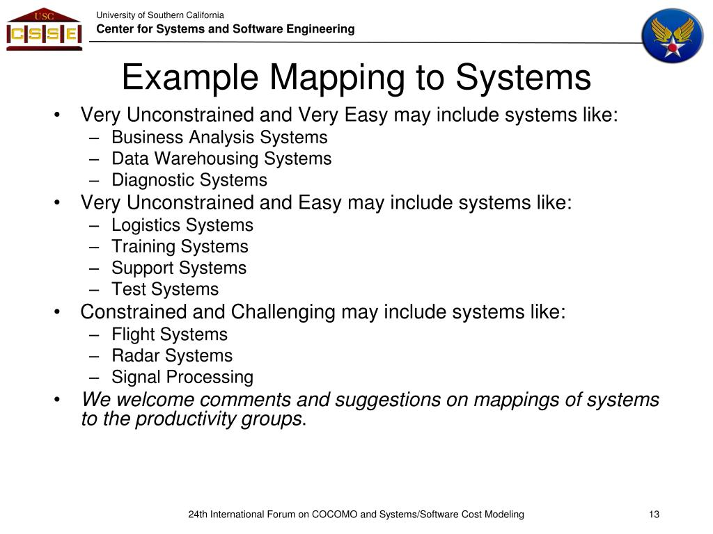 Example Mapping to Systems