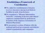 establishing a framework of coordination