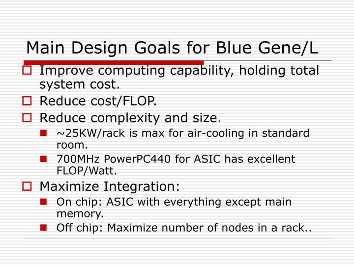 Main design goals for blue gene l
