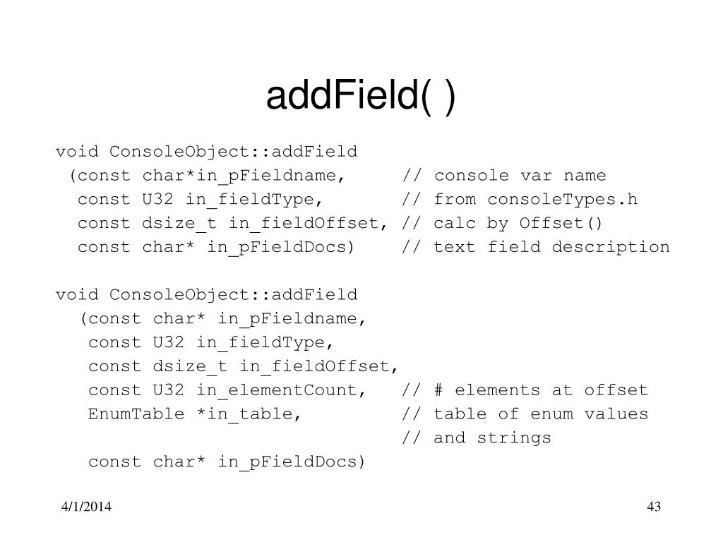 addField( )