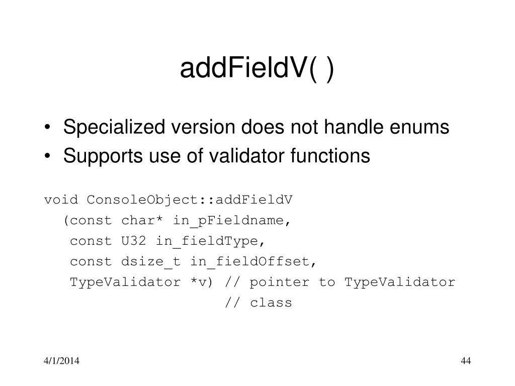 addFieldV( )