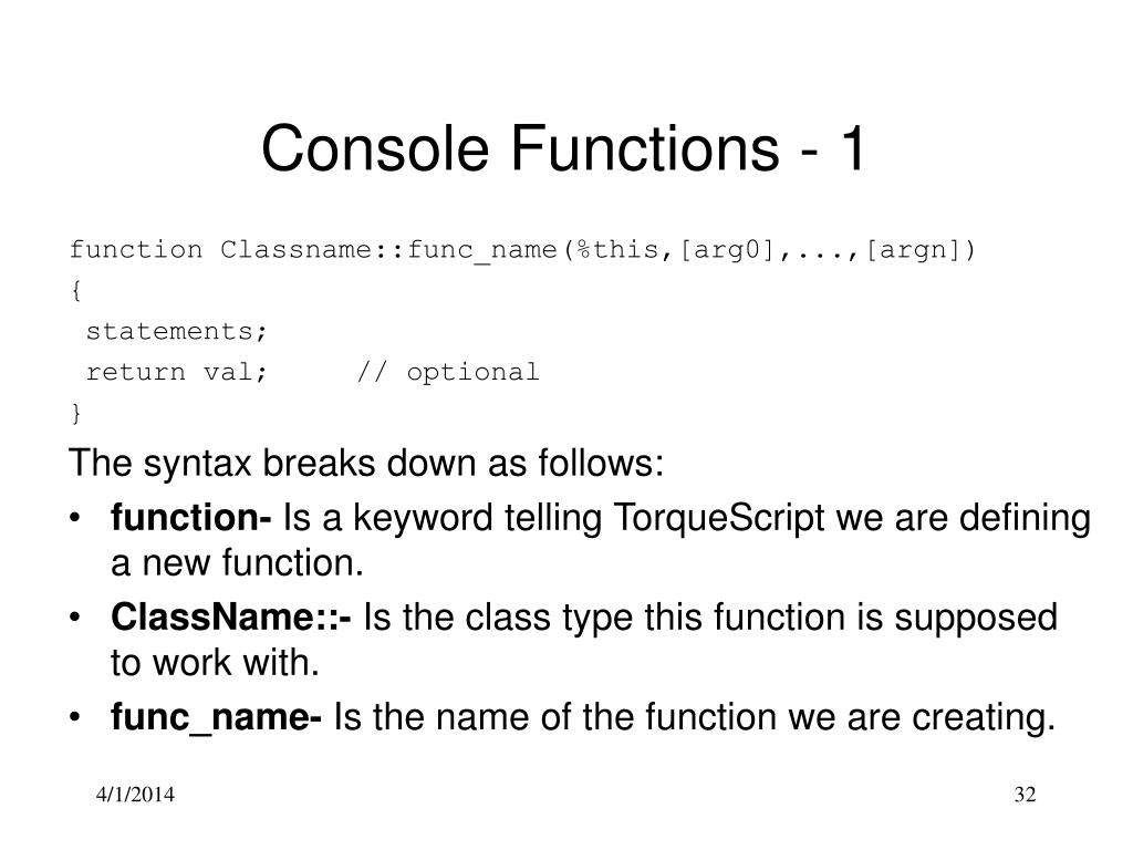 Console Functions - 1