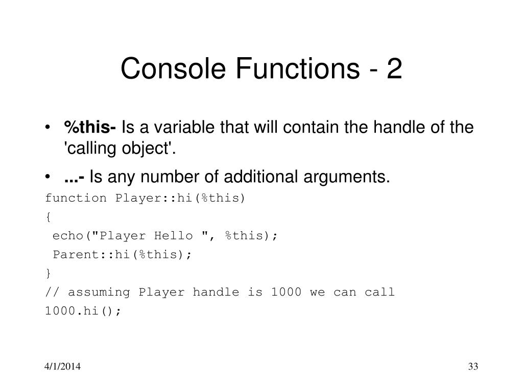 Console Functions - 2