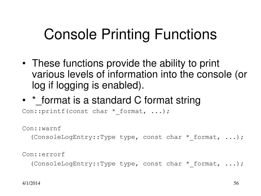 Console Printing Functions