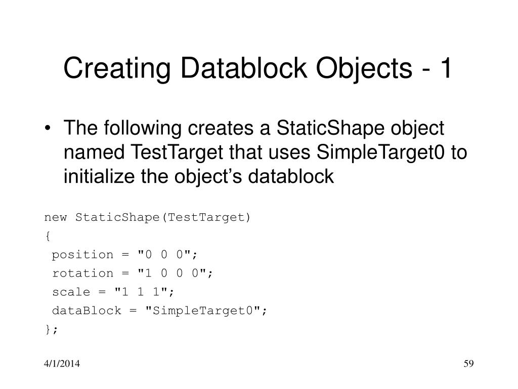 Creating Datablock Objects - 1