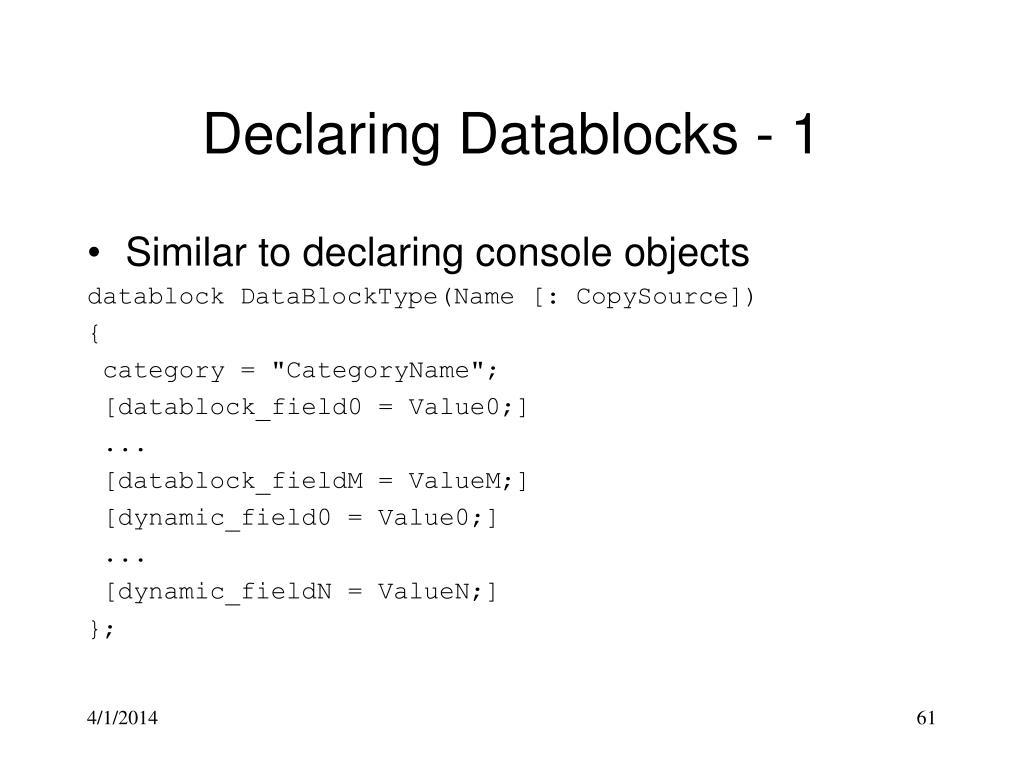 Declaring Datablocks - 1