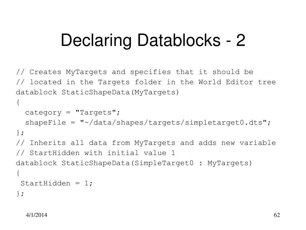 Declaring Datablocks - 2