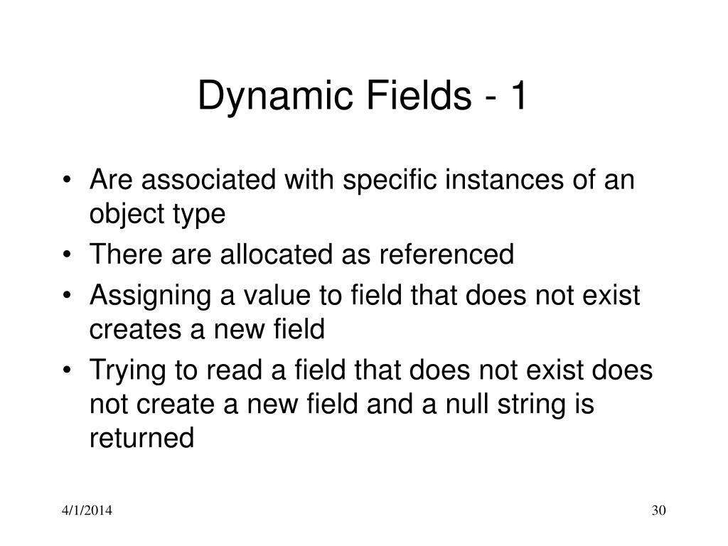 Dynamic Fields - 1