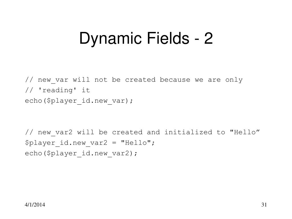 Dynamic Fields - 2
