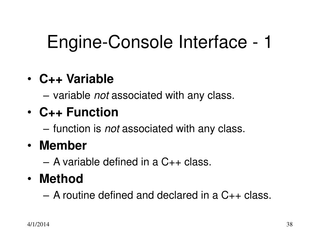 Engine-Console Interface - 1