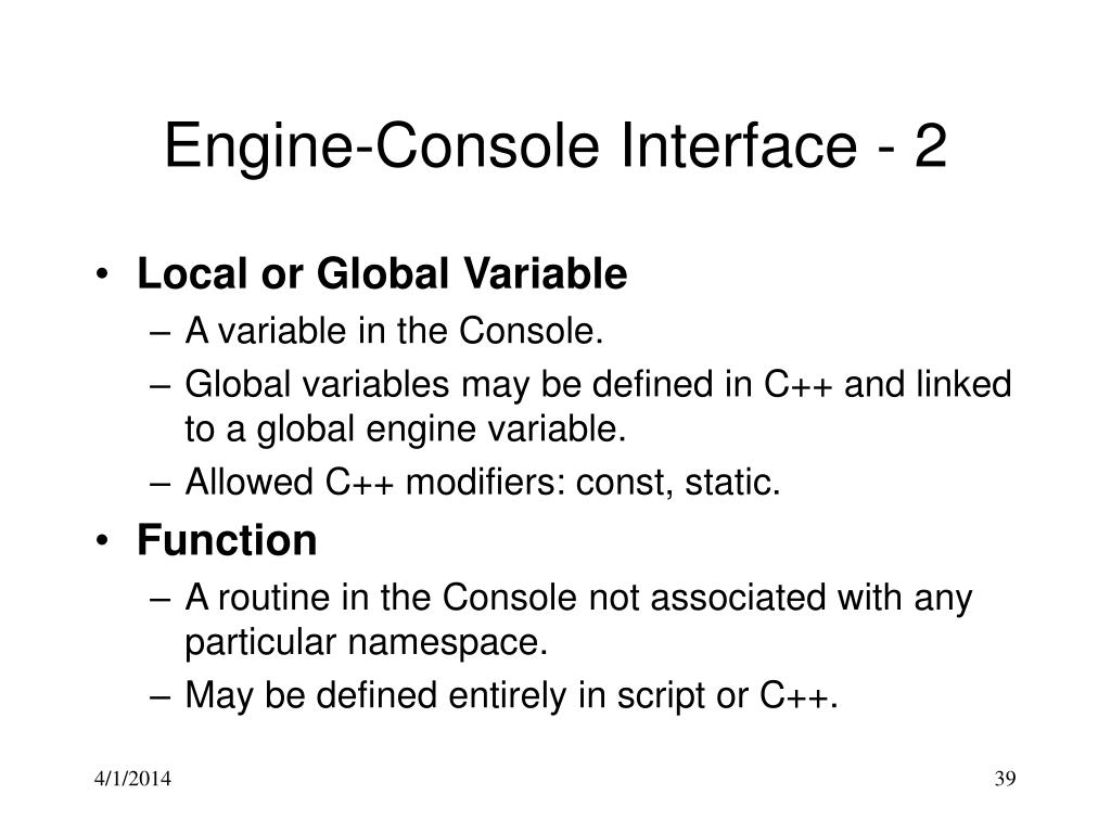 Engine-Console Interface - 2