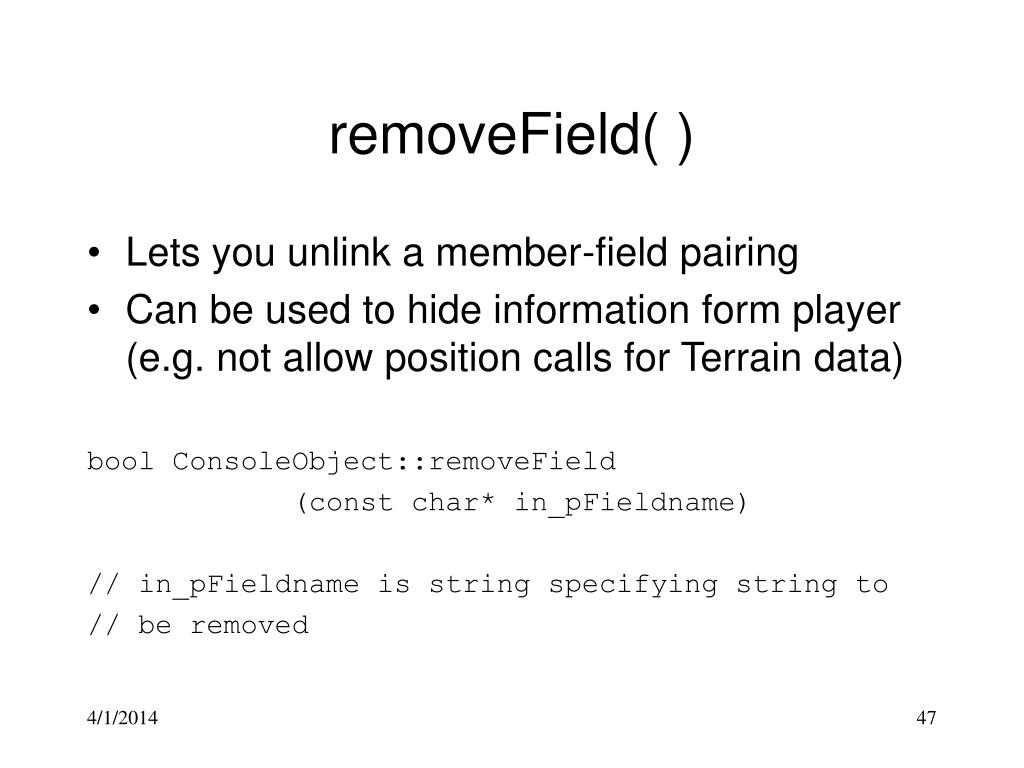 removeField( )