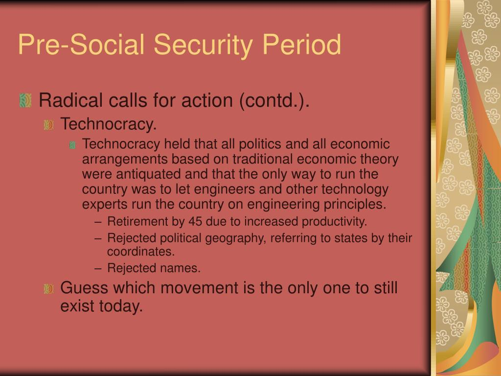 Pre-Social Security Period