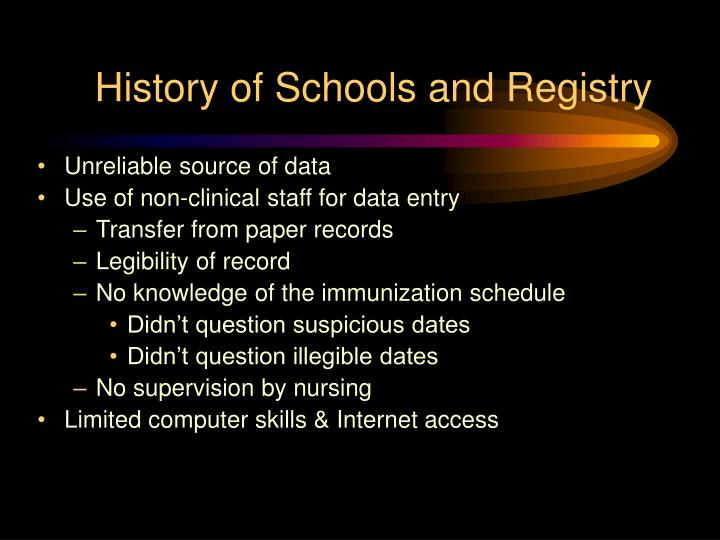 History of Schools and Registry