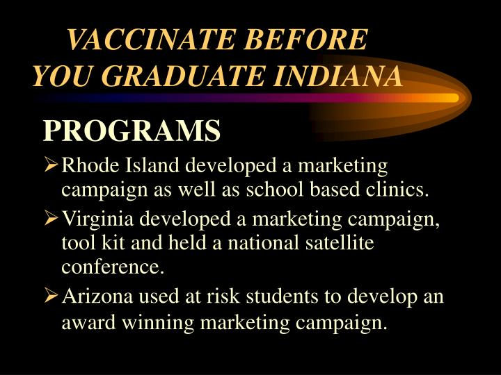 VACCINATE BEFORE