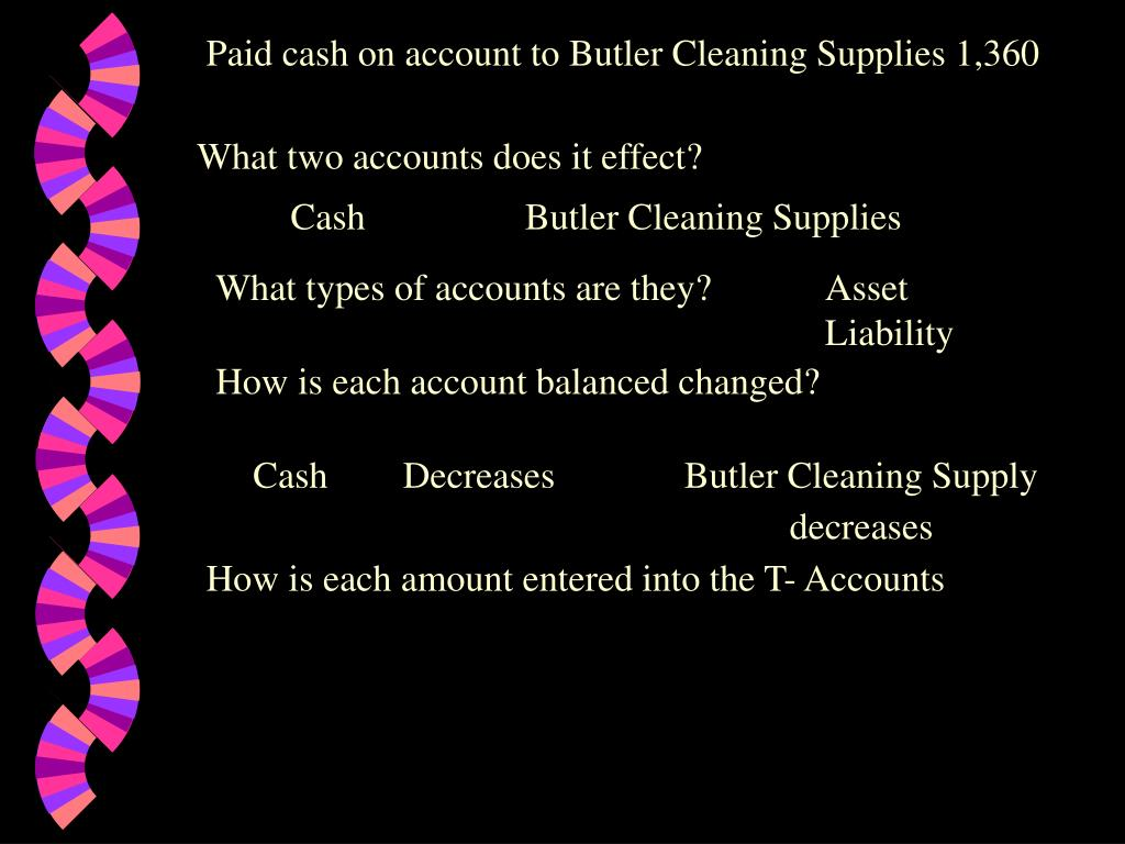 Paid cash on account to Butler Cleaning Supplies 1,360