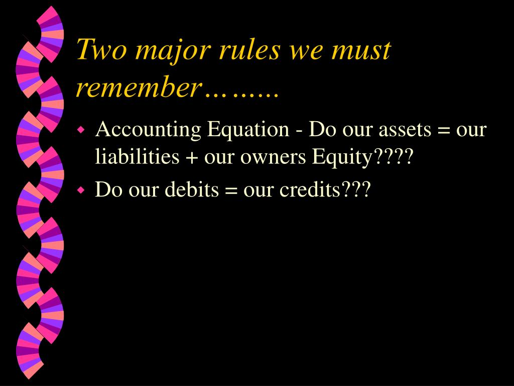 Two major rules we must remember……...