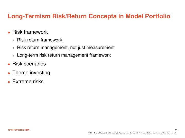Long-Termism Risk/Return Concepts in Model Portfolio