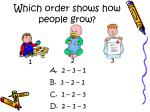 which order shows how people grow