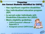 preparing are correct students identified for capa