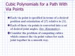 cubic polynomials for a path with via points