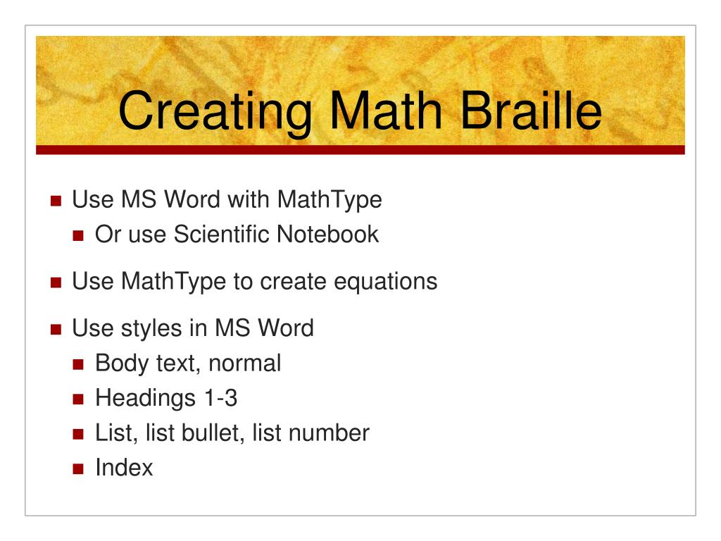 Creating Math Braille
