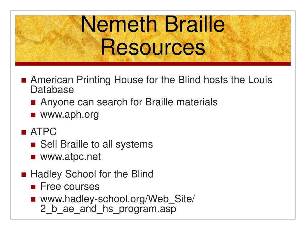 Nemeth Braille Resources