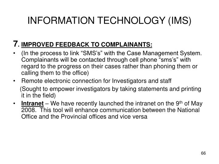 INFORMATION TECHNOLOGY (IMS)