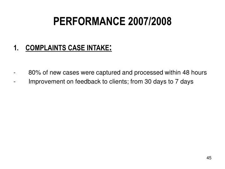 PERFORMANCE 2007/2008